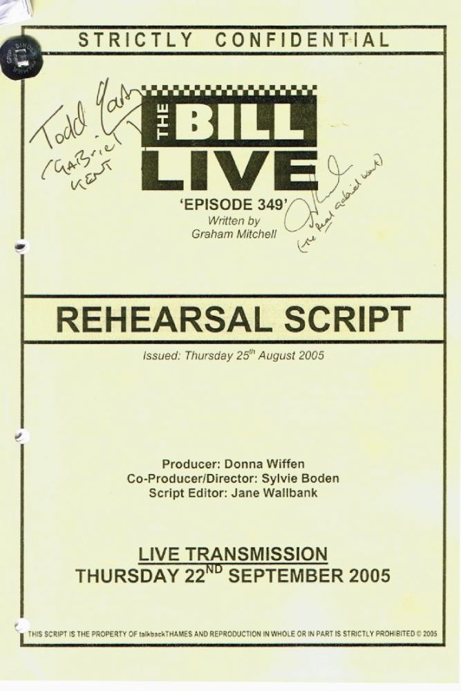 The Bill episode 349 LIVE Signed Script SOLD OUT